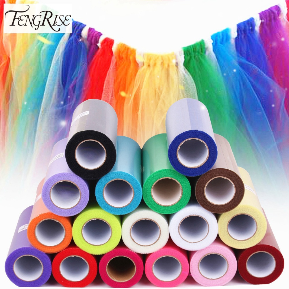 FENGRISE 15cm 25 Yard Organza Fabric Roll DIY Artificial Flowers Wedding Car Birthday Decoration Tulle Rolls Pom Poms Party Gift