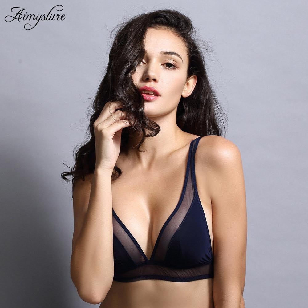47555f9032a84 Sexy Summer Bralette Plunge Bra Wireless Seamless Women Underwear Ultra  thin Soft Triangle Cup Lingerie Wire
