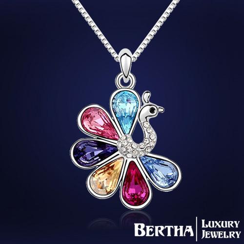 Nueva moda marca de lujo austríaco cristalino Multicolor pavo real collares colgantes gargantilla collar de collar mujeres joyería de regalo navidad
