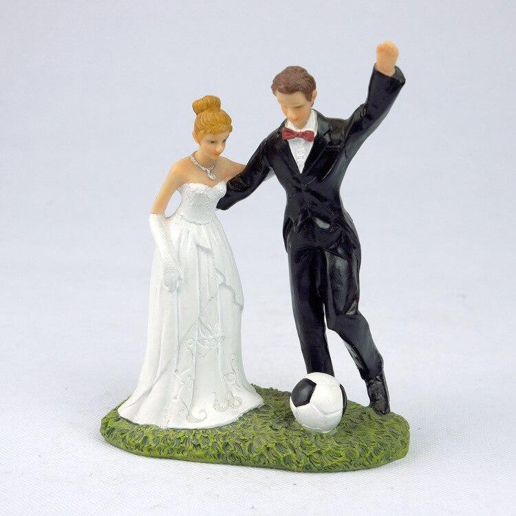 "Free Shipping ""Love Match"" Football Couple Wedding Cake Topper Bride & Groom Resin Cake Topper"