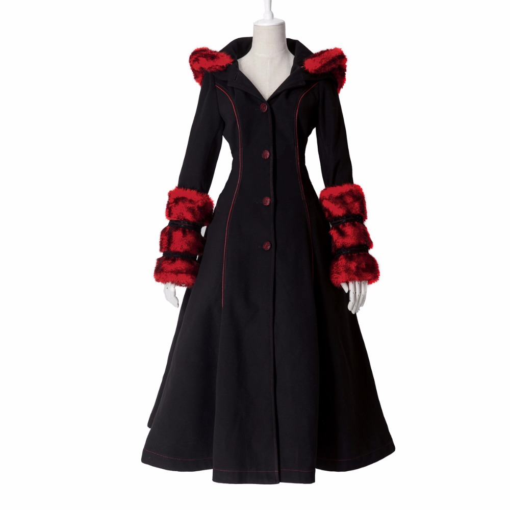 Gothic Lolita Style Two-wear Woolen Imitation Fur Coat Steampunk Autumn Winter Fashion Long Sleeve Hooded Long Jackets