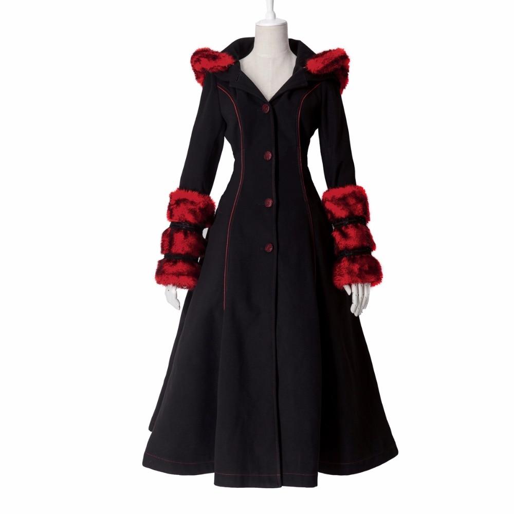 Gothic Lolita Style Two-wear Woolen Imitation Fur Coat Steampunk Autumn Winter Fashion Long Sleeve Hooded Long Jackets gothic lolita style two wear woolen imitation fur coat steampunk autumn winter fashion long sleeve hooded long jackets