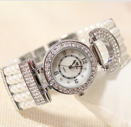 Luxury Elegant Women Rhinestone Watches Lady Pearl Dress Watch Female Big Dial Wristwatch Crystal Bracelet Watch Dropship