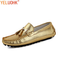 Tassel Men Shoes Casual Men Loafers Soft Leather Moccasins Shoes Men Flats Slip On Gold Silver