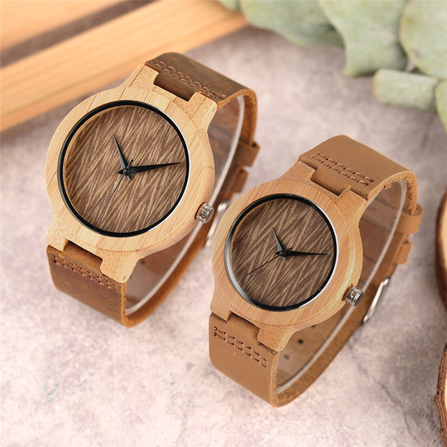 Quartz Couple Watch Bamboo Wooden Wristwatch with Genuine Leather Band Strap Men