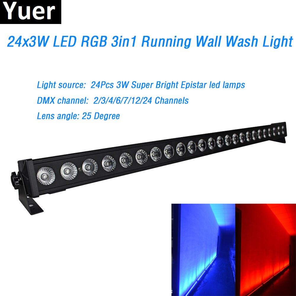 24x3in1 3 w rgb conduziu a luz da arruela da parede dmx lavar bar conduziu a