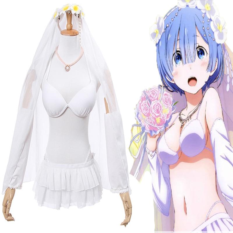 Anime Re:ZERO Starting Life in Another World Cosplay Costumes Rem Wedding Dress Cosplay Re:Zero kara Hajimeru Isekai Seikatsu
