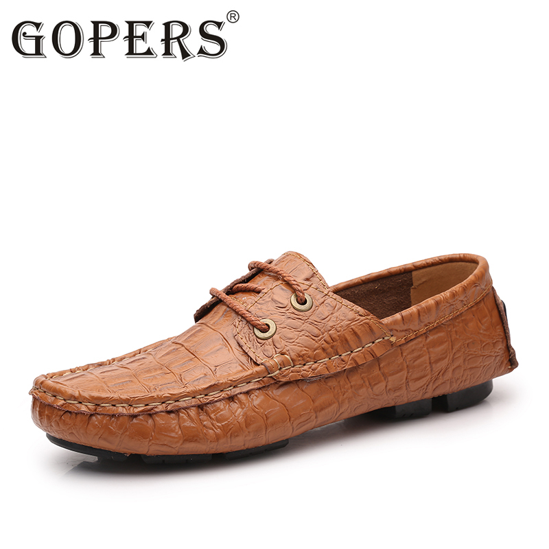 Extra Large Size 35-50 Solid Luxury Cow Leather Flat Loafer Shoes  Driving Men  Embossed Leather Moccasin-Gommino Slip On Shoe