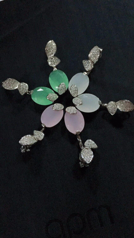 ZOZIRI créateur de mode 925 argent sterling 3A cubique zircone fête couleur pierre boucle d'oreille, femmes boucles d'oreilles fleur forme cadeau