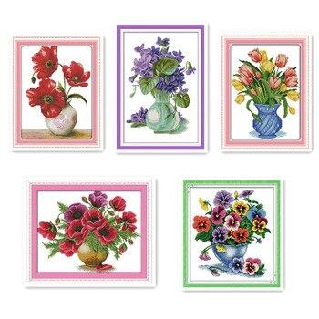 Hermosa flor de amapola de maíz, violeta, puntada en cruz, juegos de...