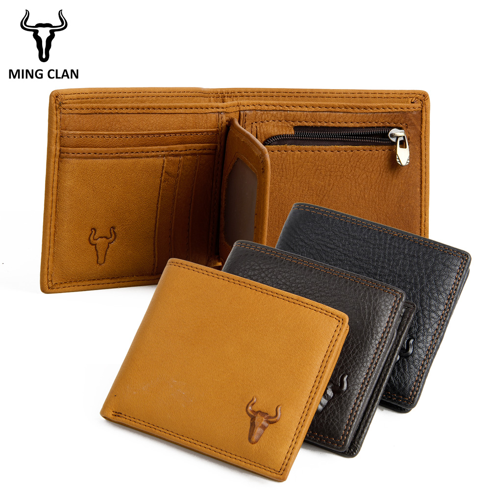 Mingclan Genuine Leather Wallet Short Men Wallets Hasp Male Purse Card Holder Slim Wallet Fashion Man Zipper Wallet Coin Purse slymaoyi classical men wallets genuine leather short wallet fashion zipper brand purse card holder wallet man with coin bag page 4