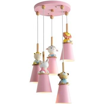 Светодиодные подвесные светильники для детской комнаты в виде маленького медведя, розовые детские подвесные светильники, Мультяшные подве