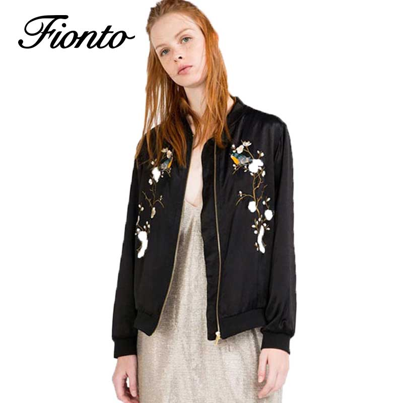 1 PC Casual Bomber   Jacket   Spring Women Tops Stand Collar Vintage Black Coat Embroidery Flowers Outwear Women   Basic     Jackets   F534