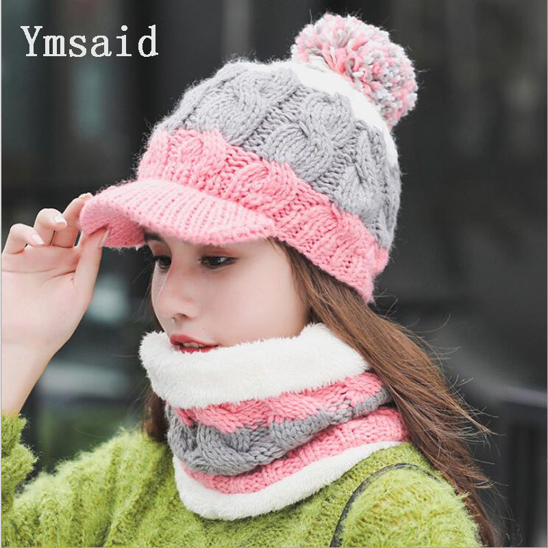 Fashion Woman Autumn Winter Hat and Scarf Sets Female Knitting Thickening Cap Collar Sets Students Warm Hat Girl Knitted Beanies skullies hot sale candy sets color pointed hat knitting hat sets hat cap 1866951