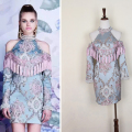 [CHICEVER] spring setro Chinese style  tassel rivers flower embroidery hanging neck strapless ladies party dress women