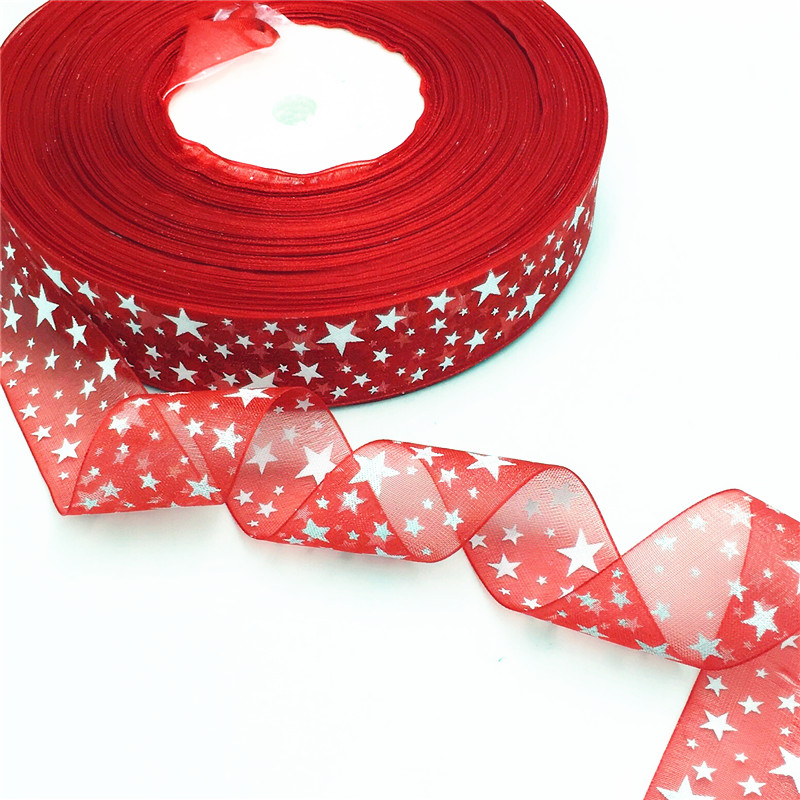 """5/10Y Christmas 1"""" width star Heart flower Organza Ribbon Wholesale gift wrapping decoration Christmas silk ribbons lace fabric