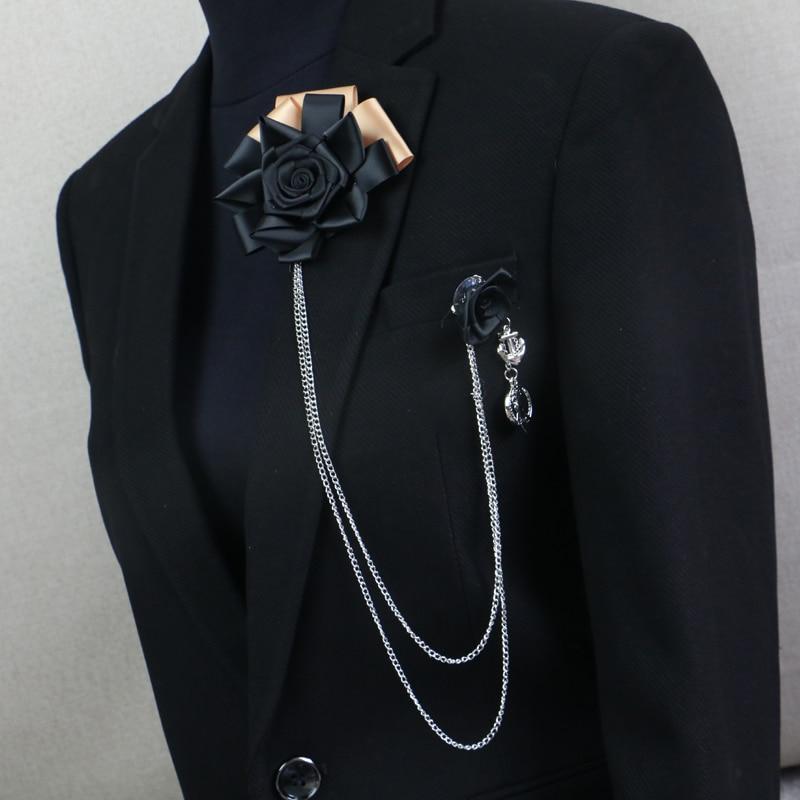 Envío gratis moda HOMBRES 2016 masculino femenino MC pectoral broche flecos accesorios traje coreano negro Rose ramillete a la venta