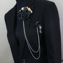 купить Free Shipping fashion MEN'S 2016 male female MC pectoral brooch fringed suit accessories Korean Black Rose Corsage on sale по цене 414.76 рублей