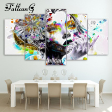 FULLCANG Full Square Diamond Embroidery Stylish Woman Diy 5pcs Painting Cross Stitch Mosaic 5d Needlework D505