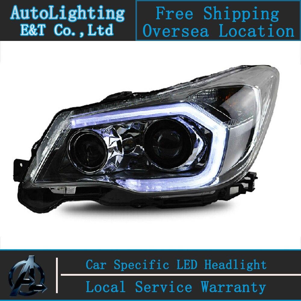 Автомобилей стайлинг светодиодные фары для Форестер фары сборки 2013 Оригинальные светодиодные фары глаза ангела Сид DRL H7 с спрятанный набор 2 шт.