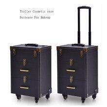 5330fbe92 Profesional portátil Trolley caso cosmético bolso maleta para maquillaje  con ruedas de gran capacidad de las mujeres de las uñas.