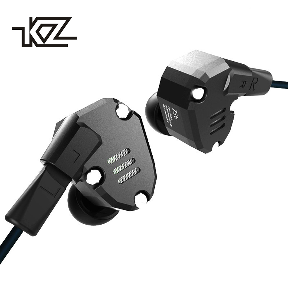 KZ ZS6 2DD+2BA Hybrid In Ear Earphone HIFI DJ Monito Running Sport Headphone With Microphone Headset Earbud KZ ZS5 Pro 2017 rose 3d 7 in ear earphone dd with ba hybrid drive unit hifi monitor dj 3d printing customized earphone with mmcx interface