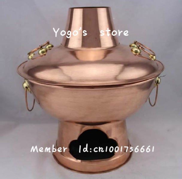 30cm China copper hot pot winter thickened Mongolian Chinese charcoal copper fondue pot Beijing Donglaishun handmade cooking