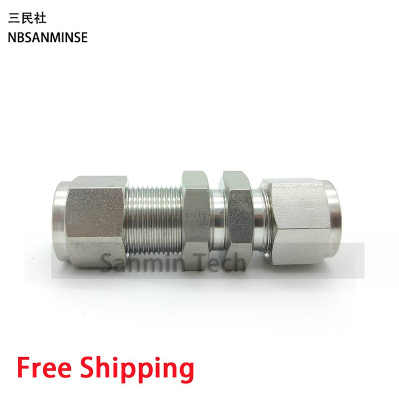 5PCS/Lot BU Connector Coupling Bulkhead Union Stainless Steel SS316L Pneumatic Fitting Plumbing Fitting High Quality Sanmin