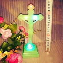 Христианские католические реликвии светящиеся кресты украшения Ремесло вставки батареи 24*11 см рождественские подарки подарок на день рождения