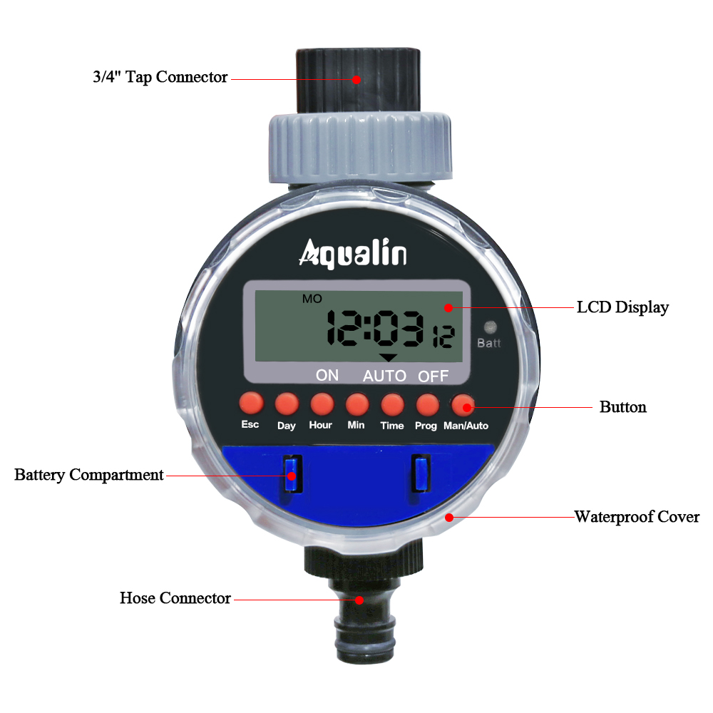 Automatic Electronic Ball Valve Water Timer Home Waterproof Garden Watering Timer Irrigation Controller with LCD Display #21026A