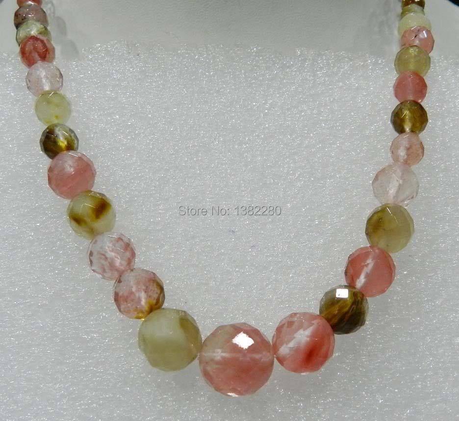 ! 6-14mm Watermelon Tourmaline chalcedony Round Beads Necklace 18