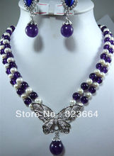 Hot Sell! 6 color-2 row pearl yellow/blue/red/pink/green/purple  Beautiful necklace set