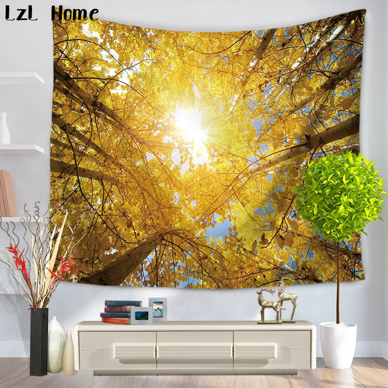 LzL Home 1ps Forest Indian Mandala Wall Tapestry Nature Printed 3d Pool Table Decorations Yoga Mat Camping Beach Home Tapestry