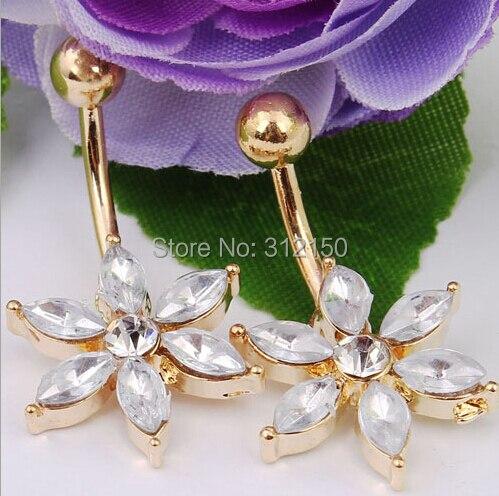 1 peça 2016 jóia frete grátis flor de ouro de cristal anel da barriga do umbigo anéis Sun Flower umbigo anel Bar Body Piercing jóias