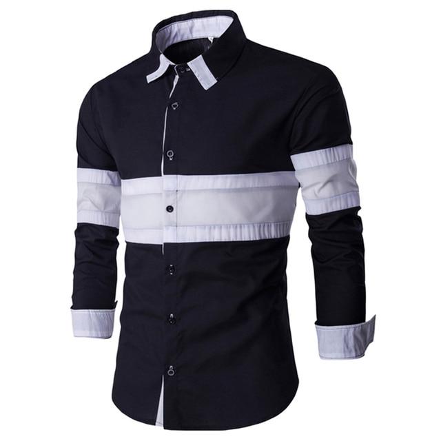 2017 New Arrival Striped Shirt Mens Spring Fashion Mens Slim Fit Long Sleeve Dress Shirts Casual Brand Men Shirt Chemise Homme
