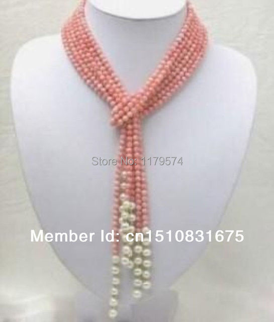 Las mujeres con largas capas de joyería de envío de La nueva Manera caliente estilo diy Rosa Coral Collar de Perlas de Agua Dulce AAA 50 pulgadas AAA