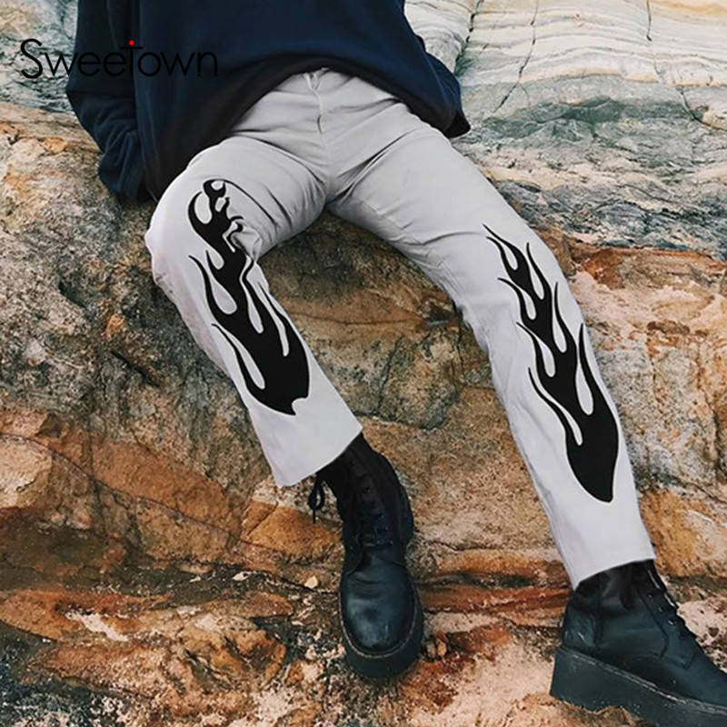 Sweetown Flaming Fire Print Cargo Pants Women Gray High Waist Straight Trousers Woman Pockets Zipper Fly Pants Casual Streetwear