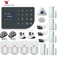 YoBang Security 433MHZ GSM Wireless Smart Home Safety Alarm System Kit Wireless Alarm Inroom Outdoor IP Camera Smoke Fire Sensor