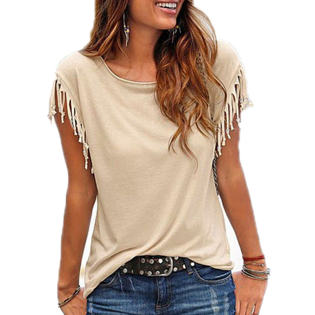 PURE COLOR SHORT SLEEVE TASSEL TEE TOPS