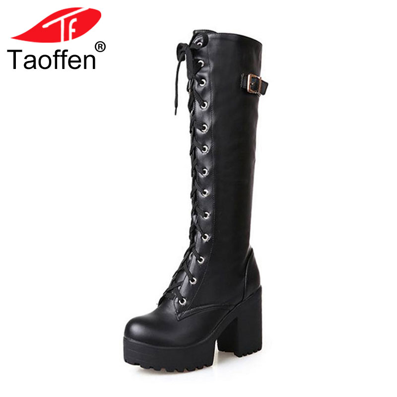 Taoffen Size 34-43 Sexy High Heel Boots Women Shoes Lace Up Thick Platform knee High Heels Winter Shoes Fur Women Snow Boots asumer 3 colors new big size 34 43 women boots winter fashion lace up knee high boots sexy woman shoes snow motorcycle boots