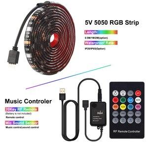 Image 4 - Usbli şerit LED 5050 RGB müzik denetleyicisi ses sensörü RF uzaktan kumanda ile IP20/IP65 müzik LED şerit ışık