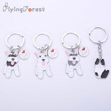 Flyingforest Cute Cartoon Schnauzer Dog Car Keyring New Fashion Keychain Metal Gifts For Women Animal Bag Charm 2019 Trendy