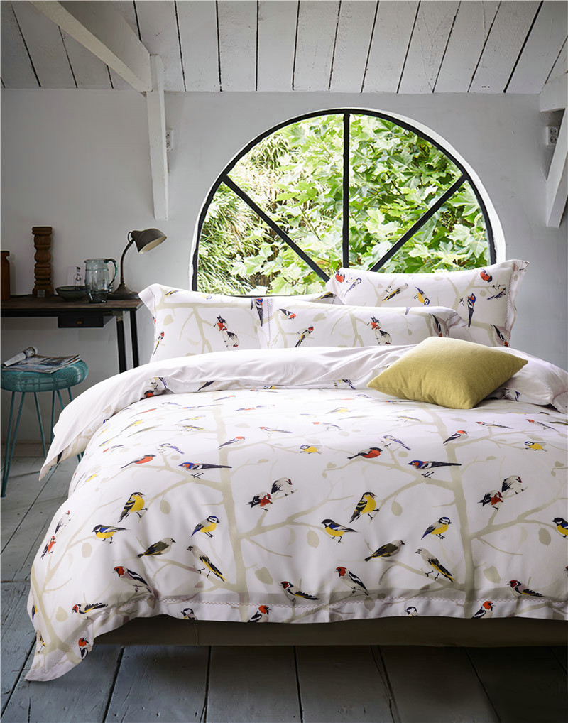 60 count tencel flowers birds design King / Queen Size summer Bedding Set 4 pcs Duvet Cover flat Sheet Set