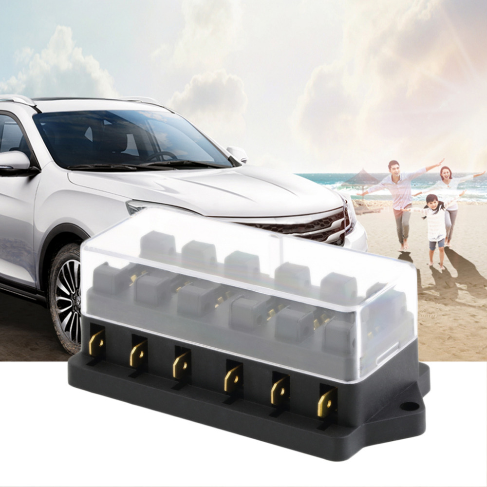 Universal 12v 6 Way Fuse Box Block Holder Car Vehicle Kia Shuma Circuit Automotive Blade Accessory Tool Hot Selling