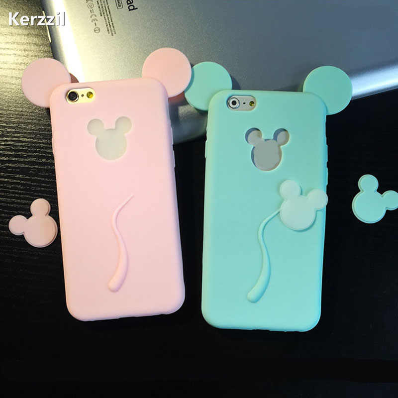 3D Soft Mouse's Ear Anti-Knock Case For iPhone 6 6s Plus Back For iphone 7 7plus Cute Candy Silicone Cover Capa