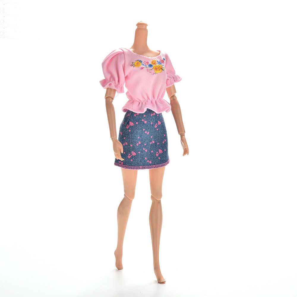 Śliczne modne ubrania dla lalek zestawy letnie z krótkim rękawem kwiat wydruku sukienka dla lalek Mini księżniczka jeansowa spódniczka dla lalki 1 zestaw
