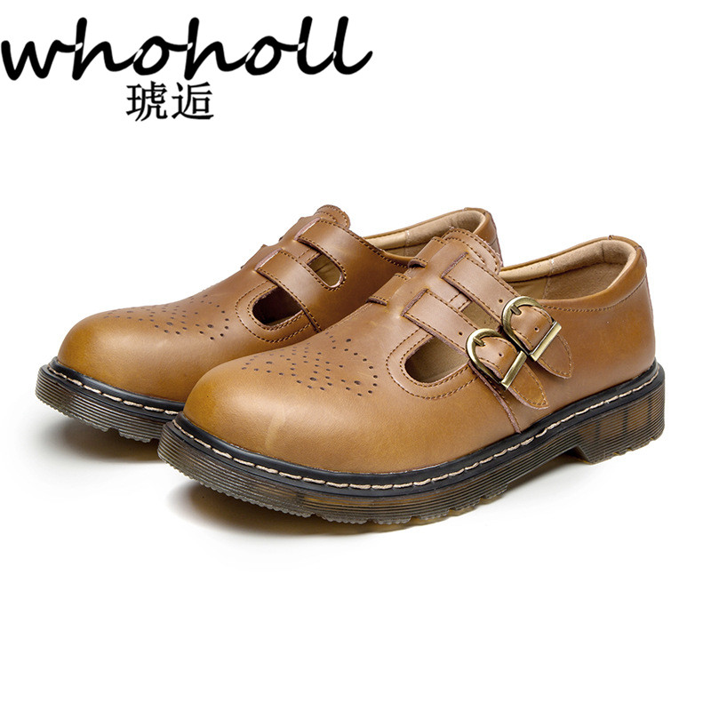 WHOHOLL Women Flats British Style Oxford Shoes Women Autumn Soft Leather Casual Maid shoes Retro buckle Women flat dress Shoes in Women 39 s Flats from Shoes
