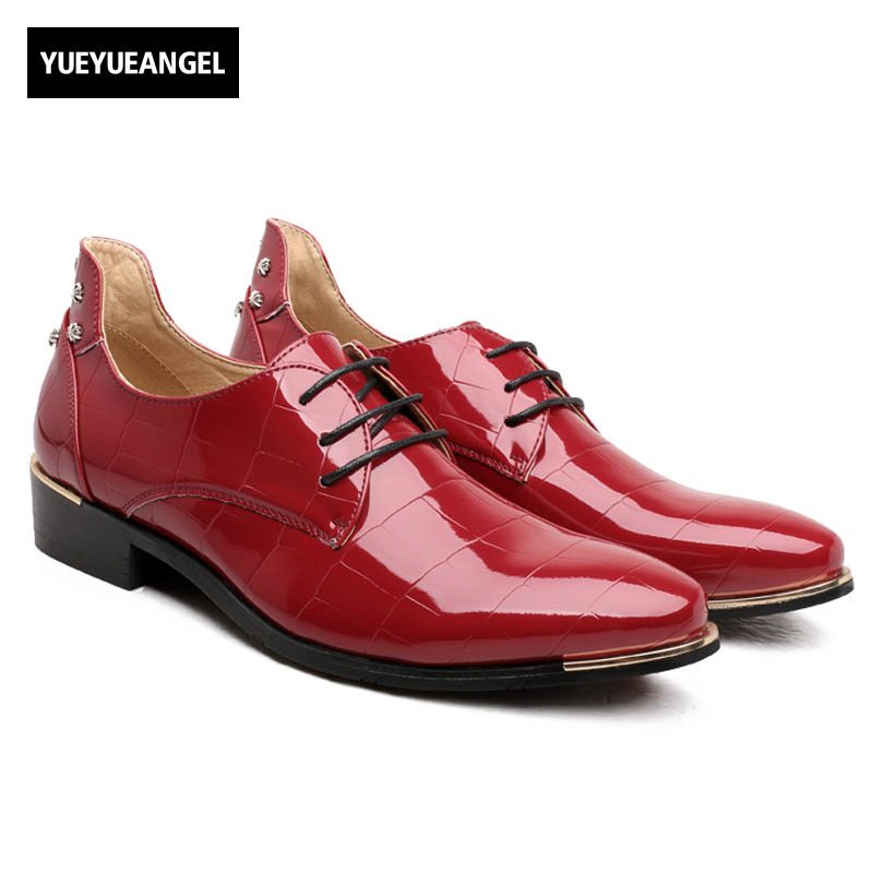 Spring Shiny Pu Leather Dress Formal Shoes Mens Pointy Toe Patent Leather Business Wedding Shoes Male Oxfords Shoes Red Blue mycolen mens shoes round toe dress glossy wedding shoes patent leather luxury brand oxfords shoes black business footwear