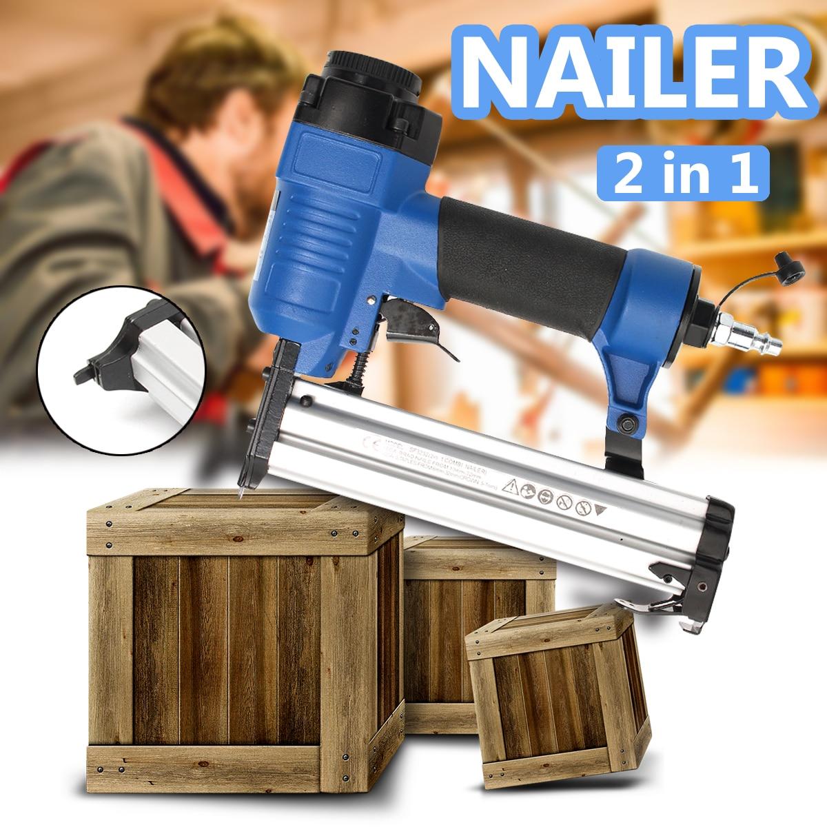 2 In 1 Framing Tacker Nail Stapler Pneumatic Air Staple Nailer Guns 10-32mm Furniture Woodworking Pneumatic Power Tools clipped head framing air nailer chf9034 pneumatic nailer