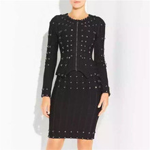 Top Quality Long Sleeve Black Manual Beading Rayon Sheath Bandage Jacket Evening Party Coat
